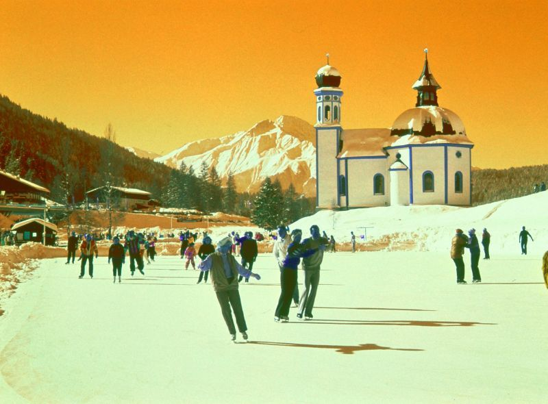Ice skating at Seefeld through orange filter