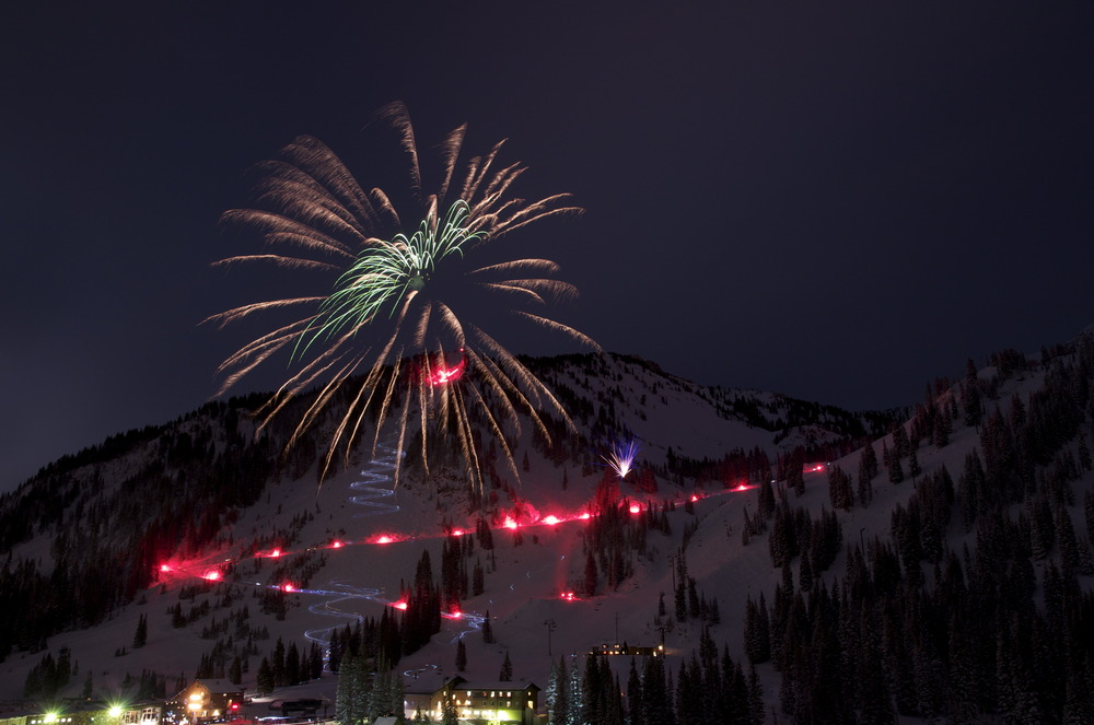 New Year's Eve at Alta, Utah with fireworks  Photo by Brian Millenbach