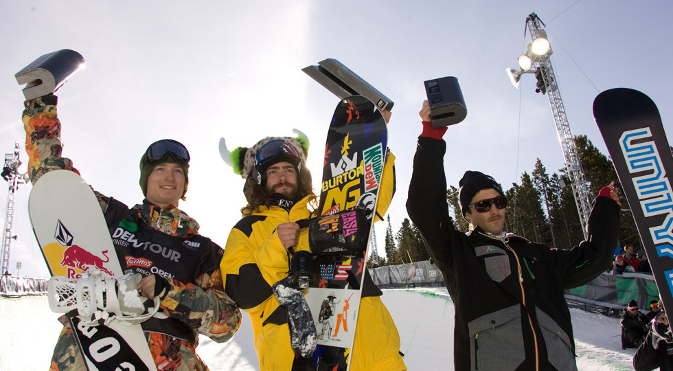 Podium finishers at Snowbasin UT Dew Tour