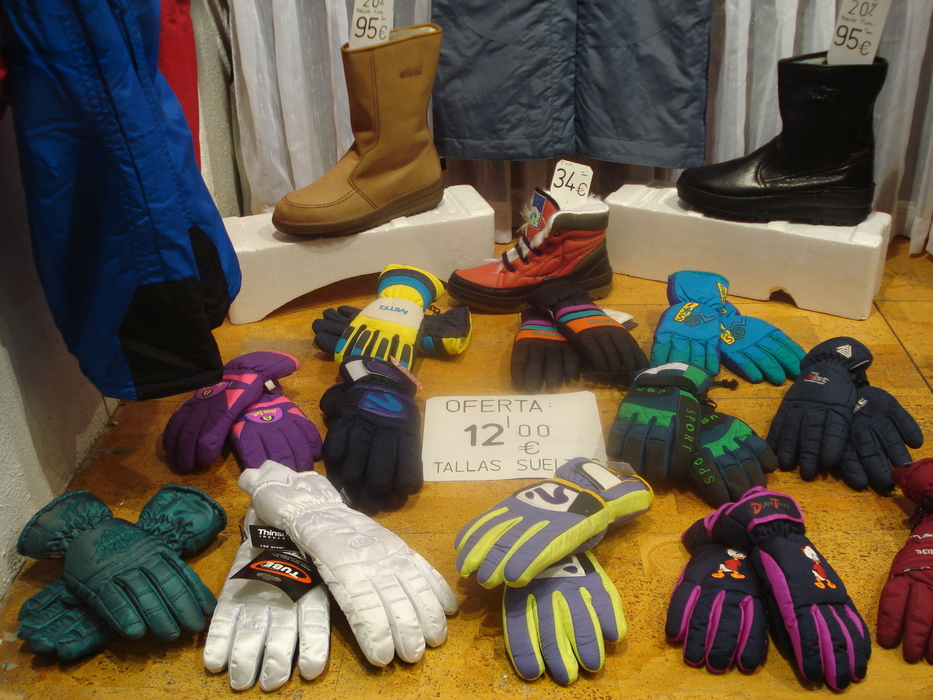 Gloves for sale on display at Sierra Nevada, Spain.