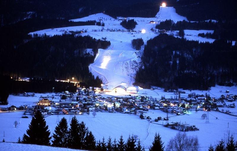 Nassfeld village lit up at night