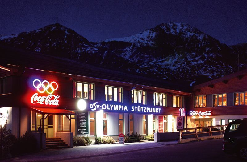 Obertauern Sports Centre at night