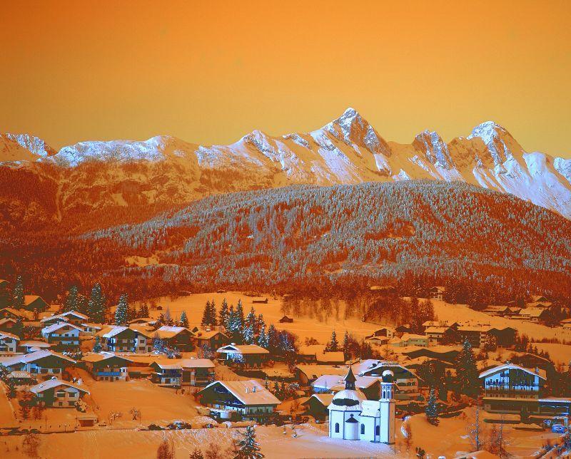 Village of Seefeld through orange filter
