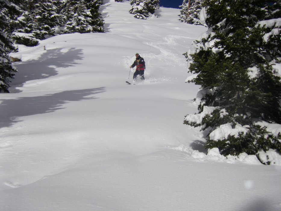 Ski patroller at Arapahoe Basin's Montezuma Bowl