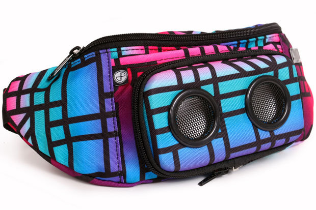 JammyPack ChubbyChecker Fanny Pack: $50 This fanny pack holds more than sunscreen! This colorful canvas pack holds two removable front speakers that easily connect to your phone or mp3 player. Not only that, it's water resistant.