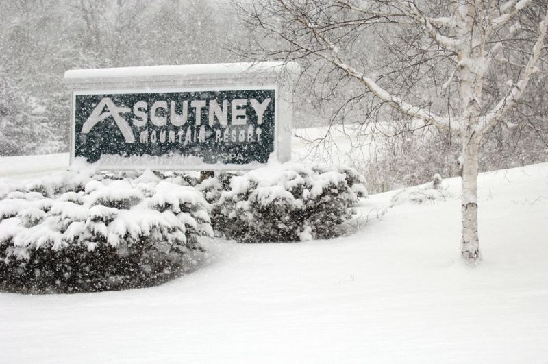 A view of the welcome sign to Ascutney Mountain Resort, Vermont