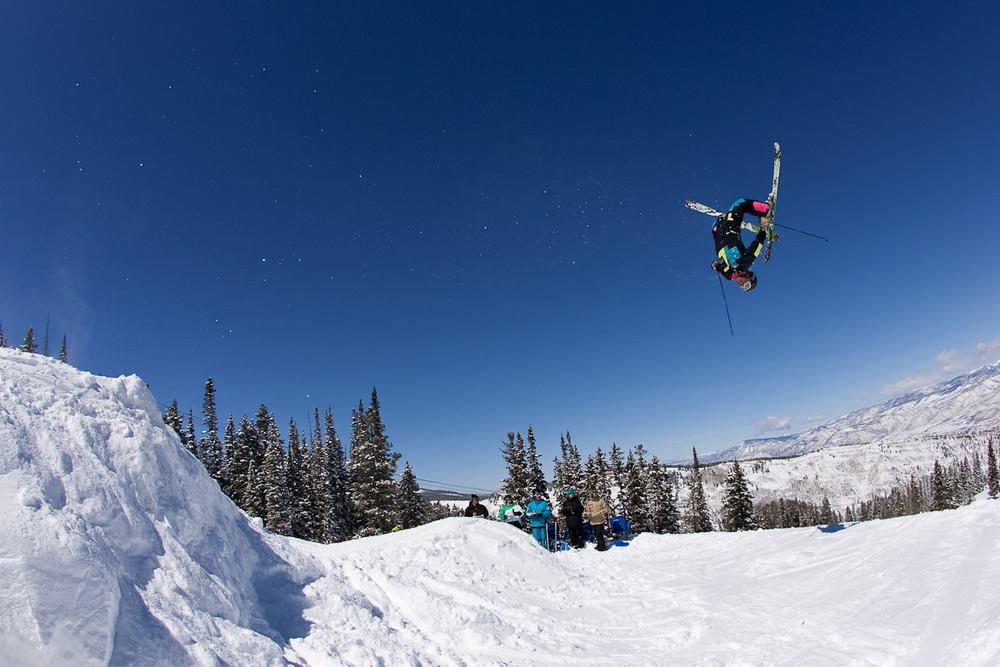 Skier performing backflip at Fallen Friends event, Aspen