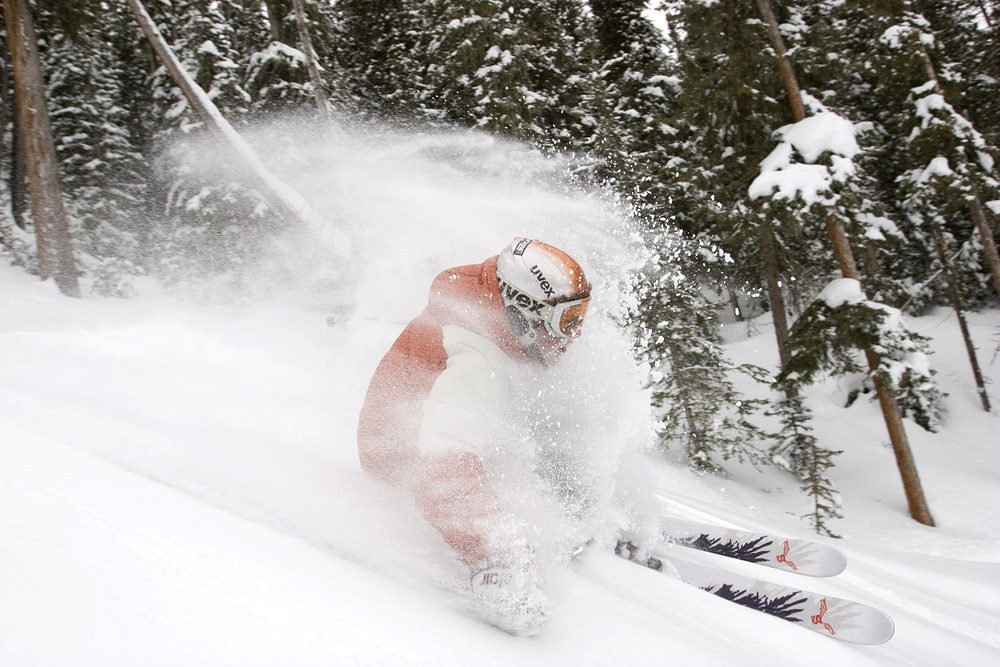 Powder skier at Angel Fire, NM. Photo by Jack Affleck.