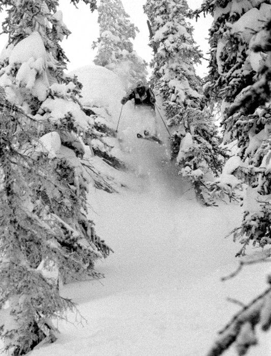 Skier in the trees at Taos. Photo by Seth Bullington.