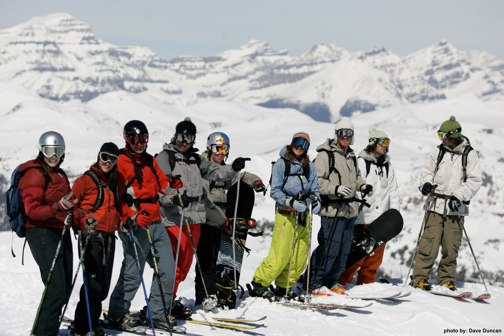Skiers and snowboarders at Sunshine Village