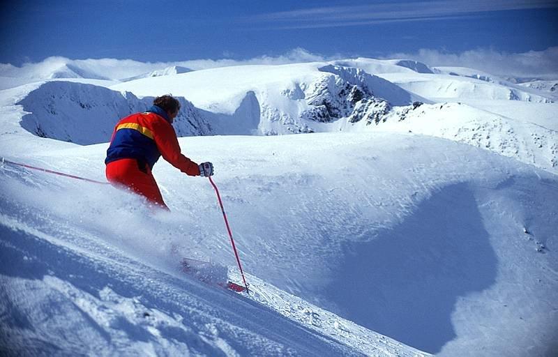 Skier at Cairngorm, Scotland.