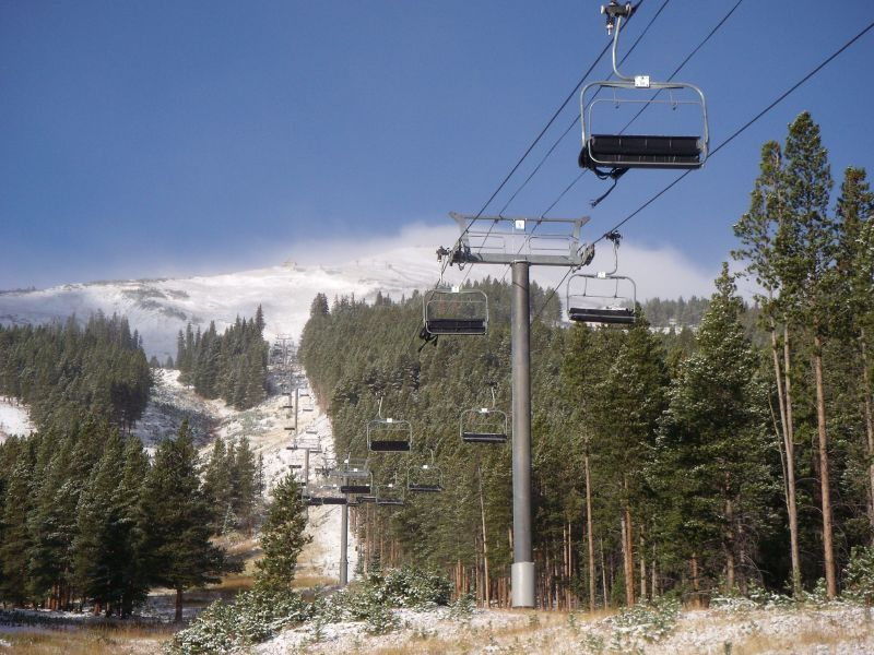 Chairlifts await the arrival of new snow in Breckenridge, Colorado