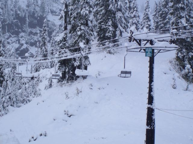 A very snow ride on a Mt. Baker chairlift.