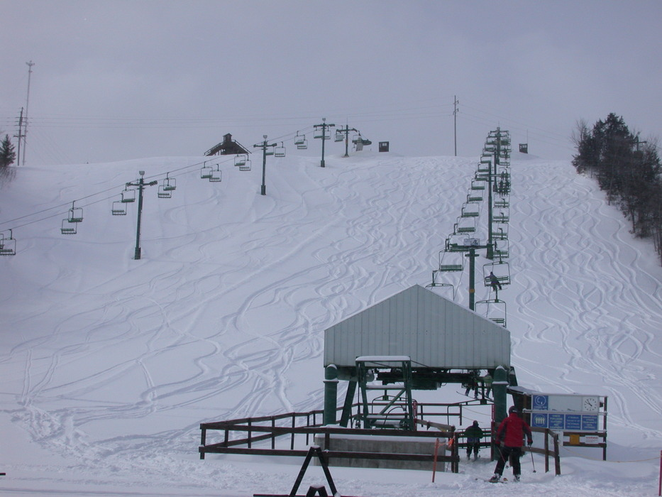 Looking up the lifts at Mt Kato, MN.