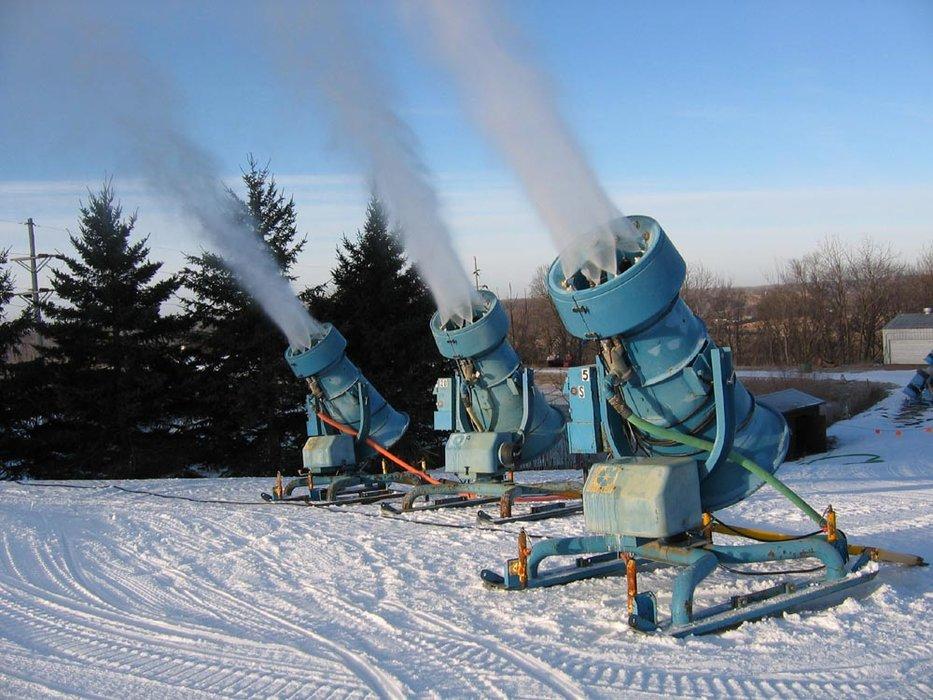 A trio of snowguns at Mt Kato, MN.