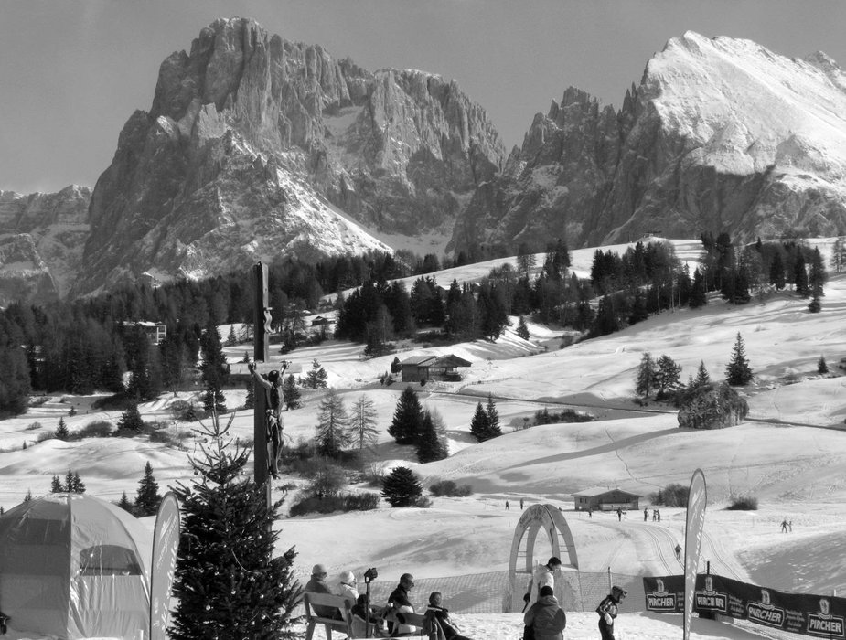 Snow and mountains at Alpe Di Siusi, Italy