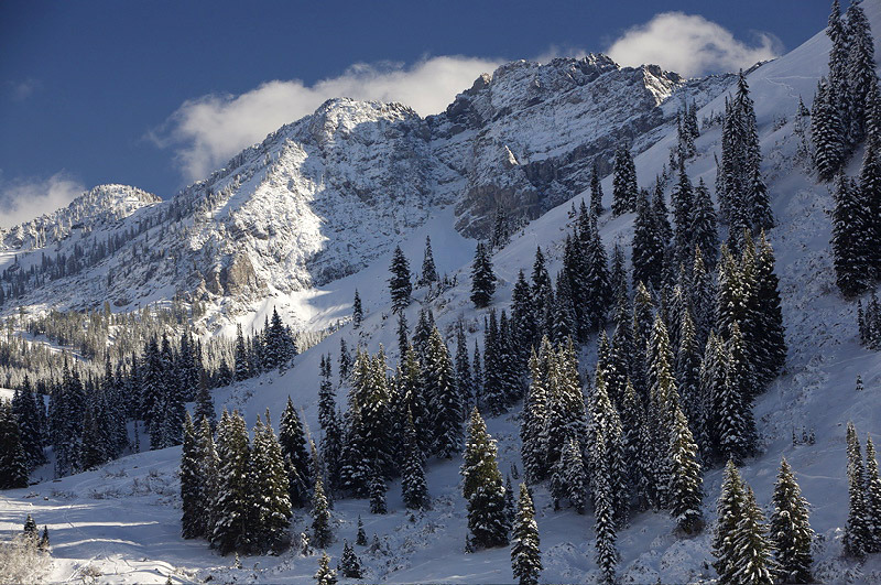 A view of Devil's Castle at Alta Ski Area, Utah