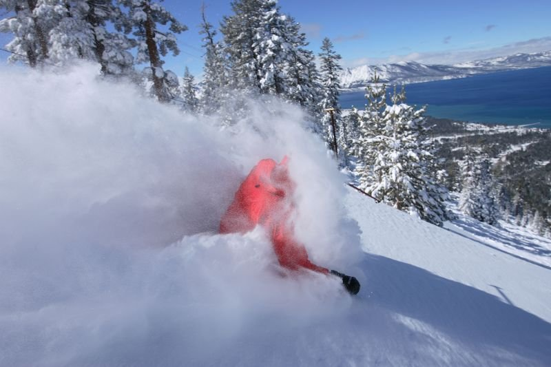 This skier gets a face full of powder at Heavenly Mountain Resort in South Lake Tahoe, California