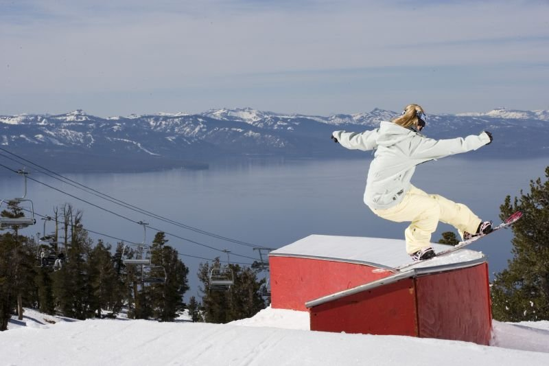 Joanna Dzierzawski performs a trick at Heavenly Mountain Resort in South Lake Tahoe, California