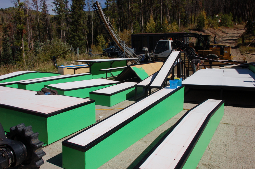 Construction of terrain park at Steamboat, Colorado