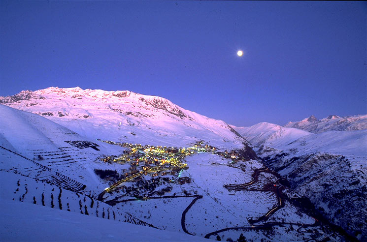 The village of Alpe d'Huez after dark.