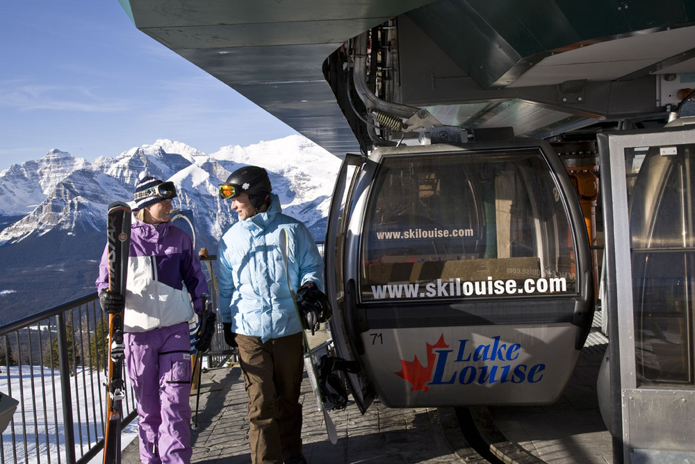 Skiers unload at the top of the Lake Louise gondola. Photo by Henry Georgi. Courtesy of Lake Louise.