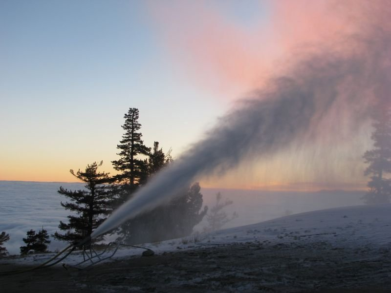A snowmaking machine creates new snow early in the morning at Heavenly Mountain Resort in South Lake Tahoe