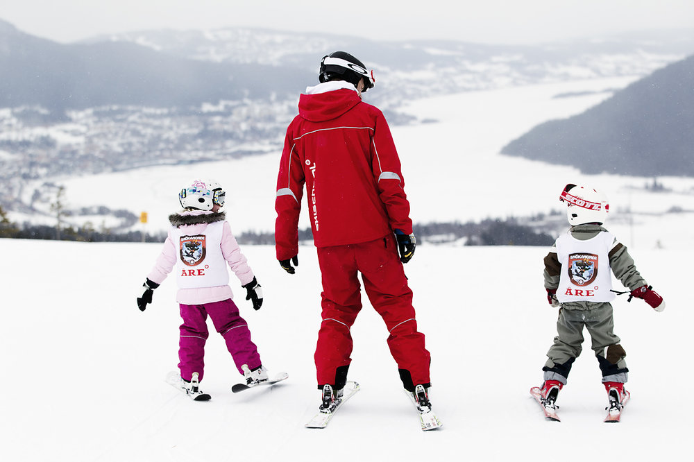 Learning to ski in Are, Sweden