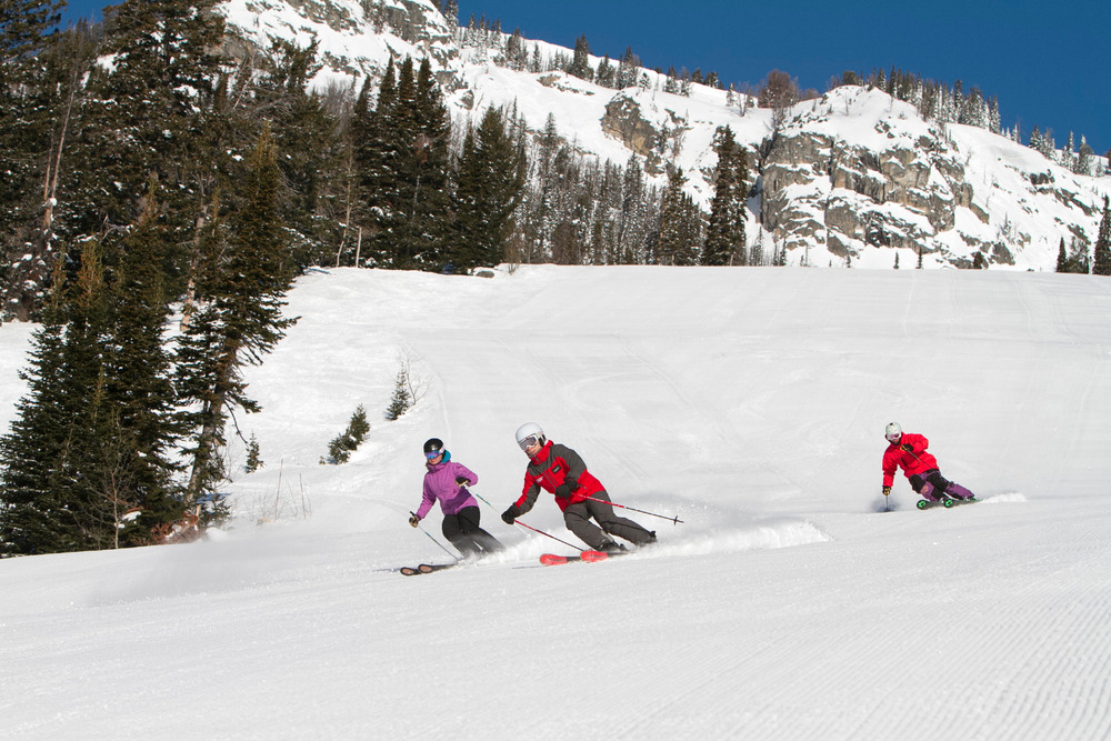 Skiers enjoy groomers at Jackson Hole Mountain Resort. Photo courtesy of Jackson Hole Mountain Resort. 