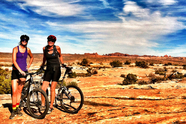 Meg and her mom got in a ride in the mountain biking mecca that is Moab. Photo by Ellery Hollingsworth.