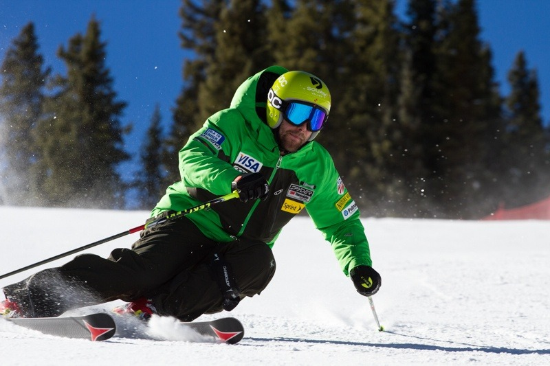 US Ski Team athlete Travis Ganong takes a turn at high speeds along the new course at Copper Mountain. - ©Liam Doran