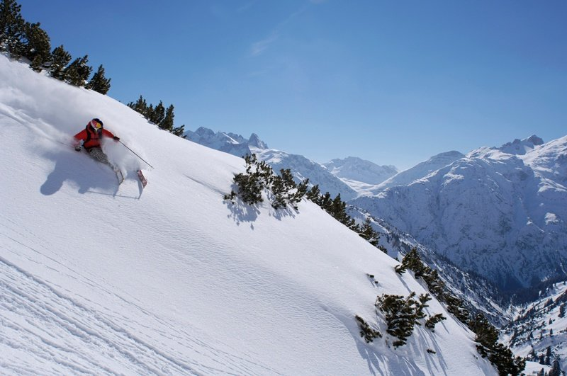 Powder skiing in St Anton, Austria