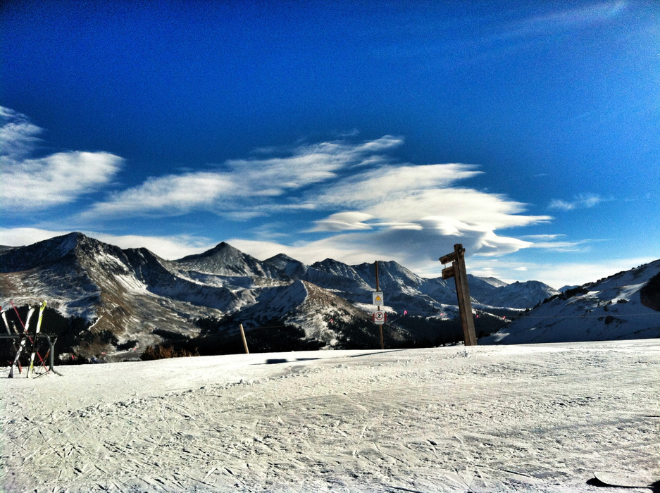 Hanging out at Copper Mountain with a view of Colorado's 10 Mile Range in the distance. - ©Meg Olenick