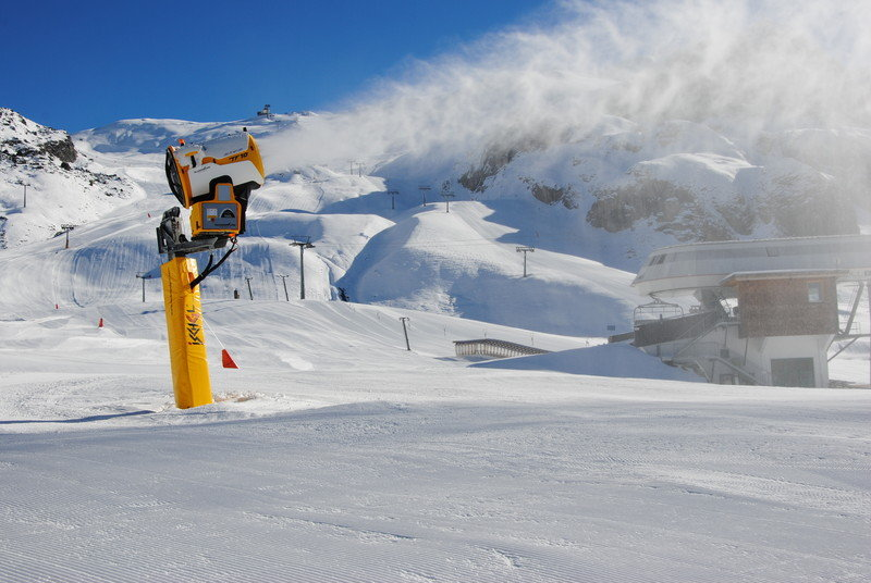Snow canons in full force in Ischgl. Photo taken Nov. 13, 2012