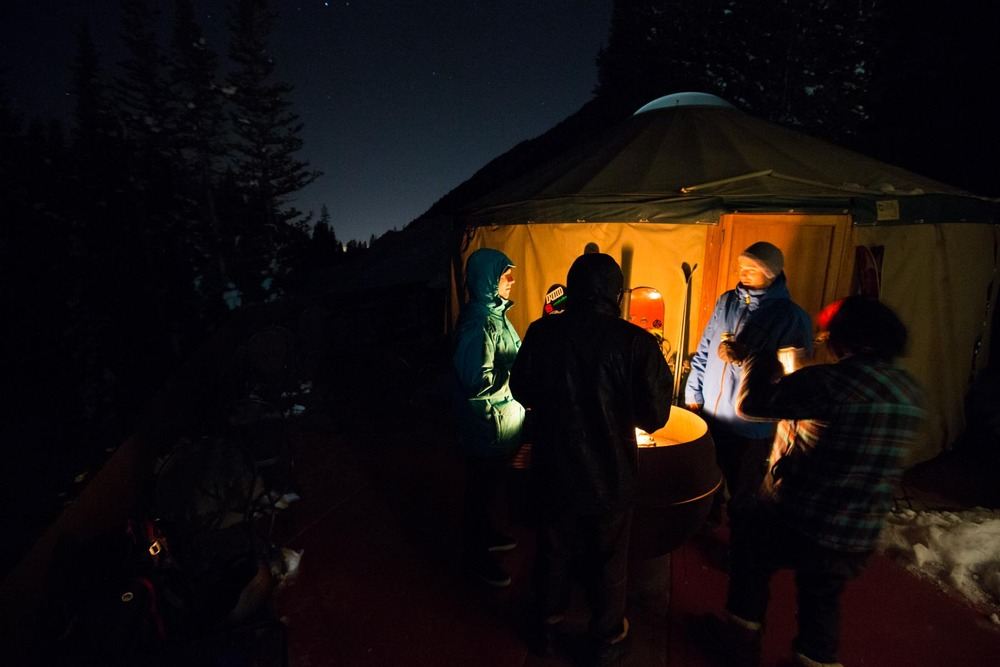 Yurt life is rough when you're too excited to sleep on the eve of Snowbird's opening day - ©Mike Schirf Photography