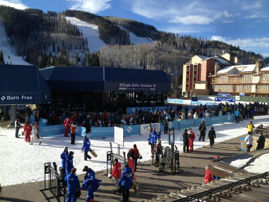 The crowd gathers at the Eagle Bahn Gondola for opening day. - ©Vail Mountain