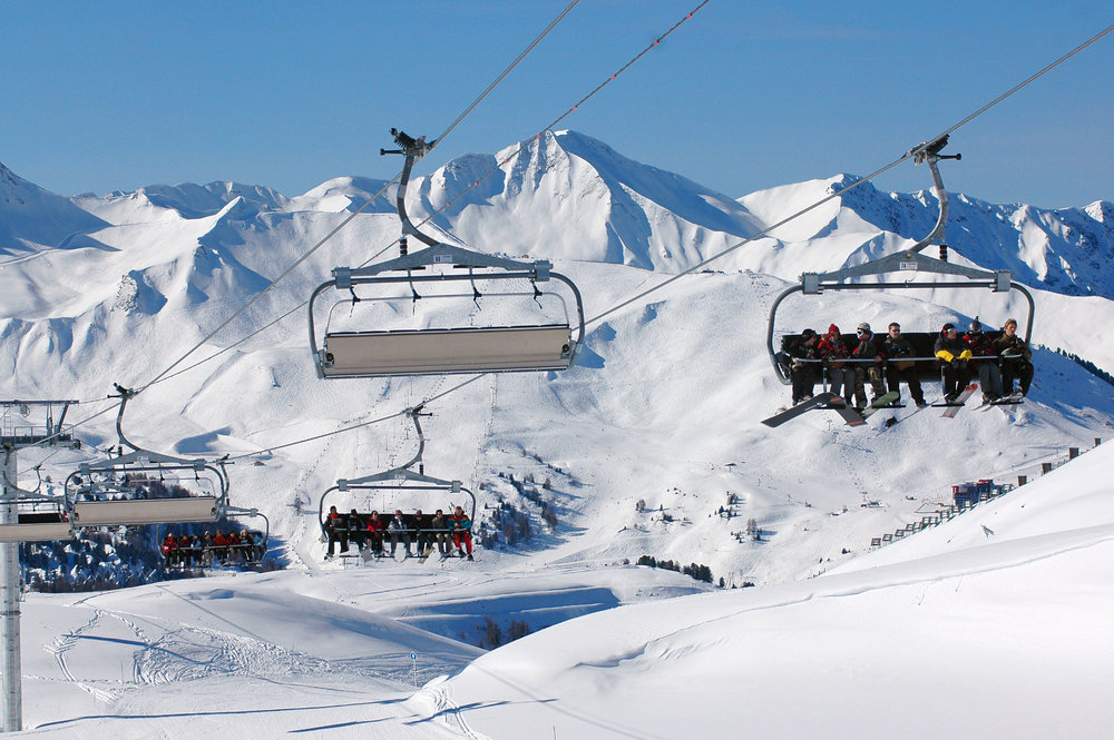 Taking the lifts in La Plagne. The Paradiski area is favourite with UK skiers