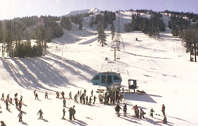 Opening weekend at Mt. Bachelor ended with sunny skies. Webcam photo courtesy of Mt. Bachelor Resort.