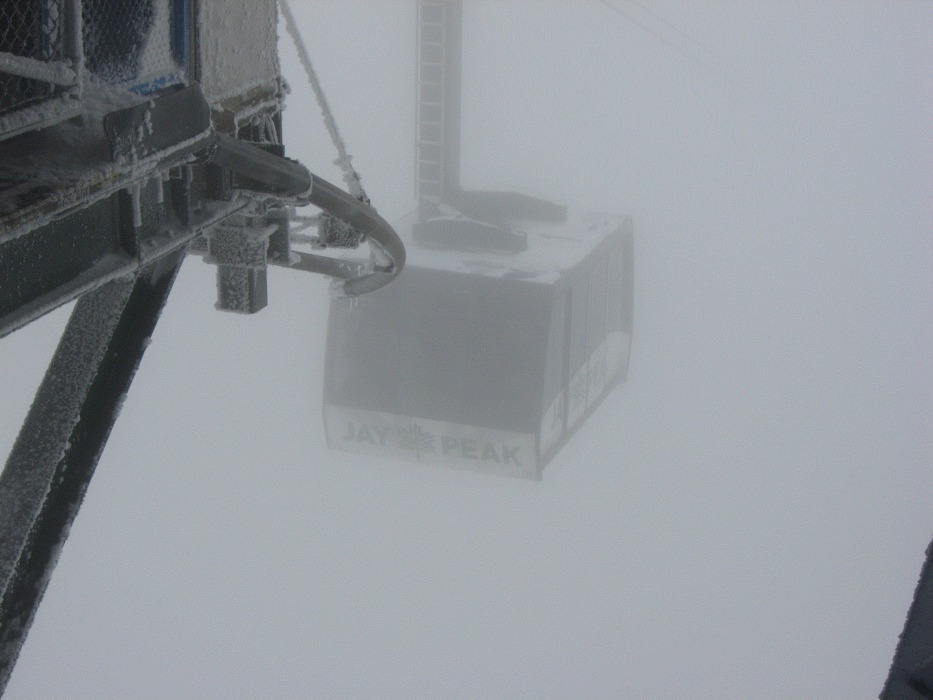 The Jay Peak Tram arriving at the peak.