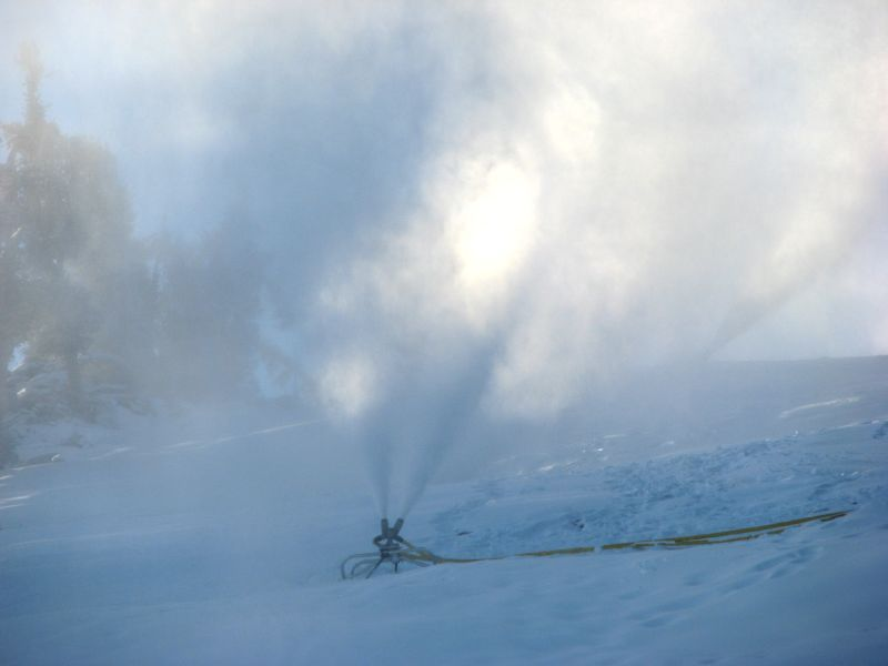 A snowmaking machine at Heavenly Mountain Resort in South Lake Tahoe creates snow early in the morning