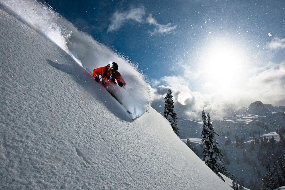 Zack Griffin skiing the steeps at Mt. Baker WA