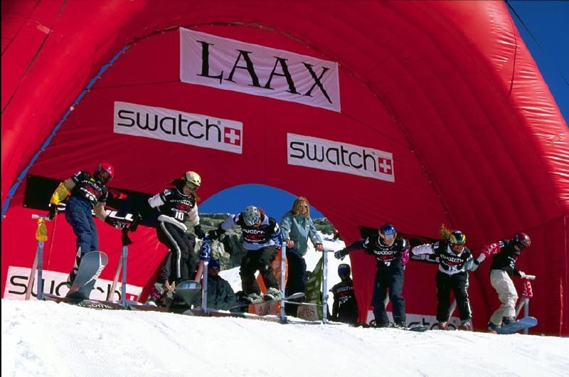 Female contestants ready for a snowboard competition in Laax.