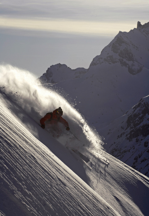 Sebastian Garhammer enjoys deep powder in Zug am Arlberg, Austria. Photographed in March 2007.
