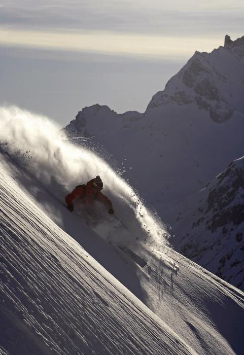 Sebastian Garhammer enjoys deep powder in Zug am Arlberg, Austria. Photographed in March 2007.