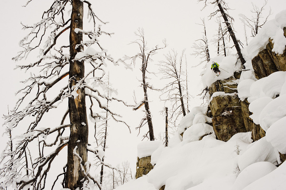 Dan Treadway takes the quickest way down a 2000ft run of perfect pillows at Great Canadian Heli Skiing. The eldest of 3 brothers and self proclaimed 'redneck' hailing from Northern Ontario, Dan has carved out a lengthy career as a talented and savvy pro skier in BC.