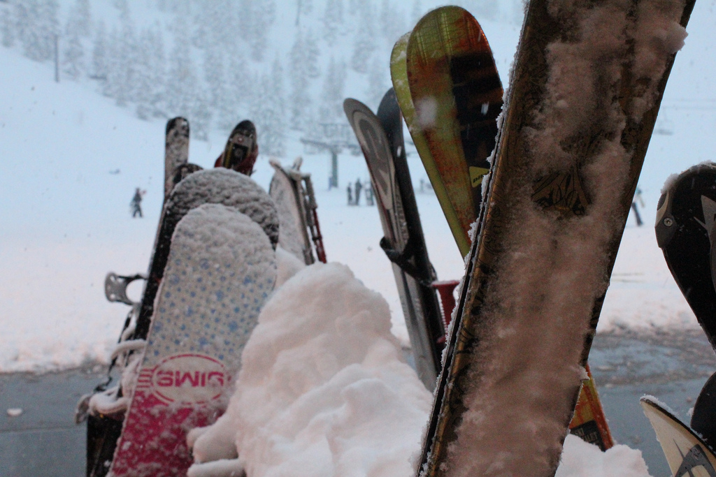 Skis and boards at Willamette Pass. Photo by Salina Canizales/Flickr.