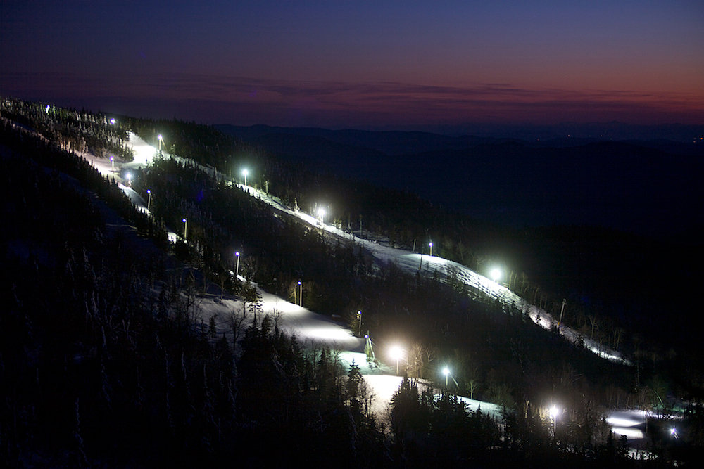 Just cause the sun sets doesn't mean Vermonters stop skiing.  Bolton Valley, Vermont.