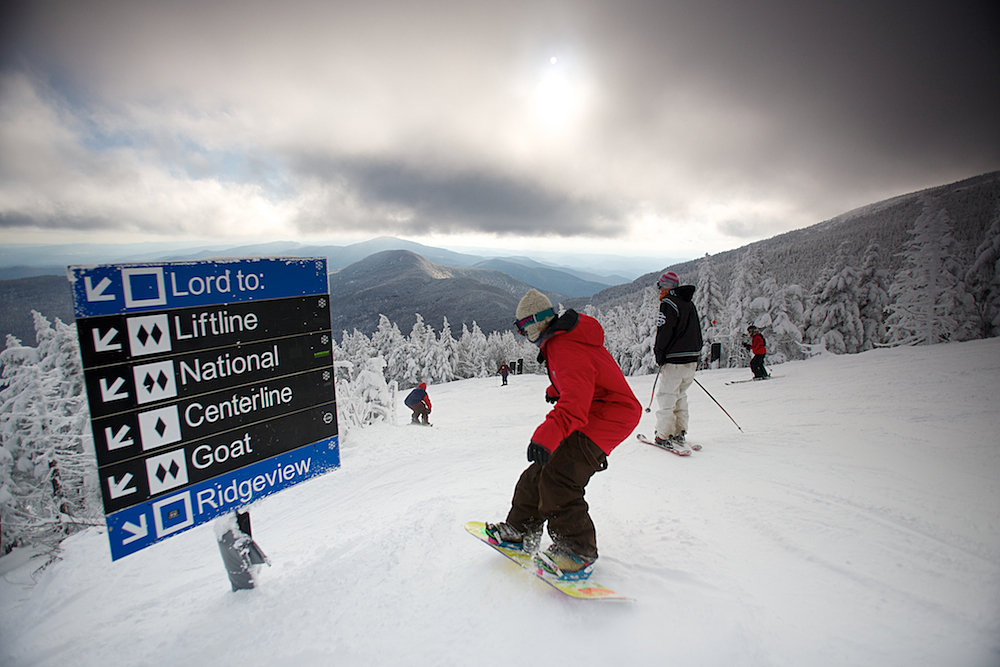 Riders and Skiers enjoy a day at Stowe, Vermont.