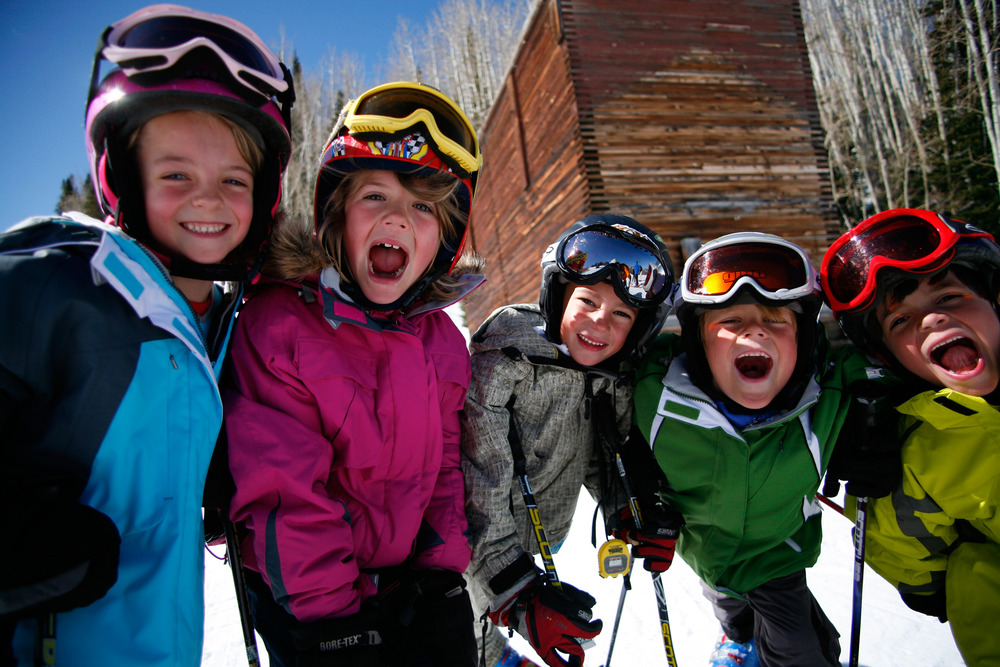 Kids learn to ski in Park City, Utah