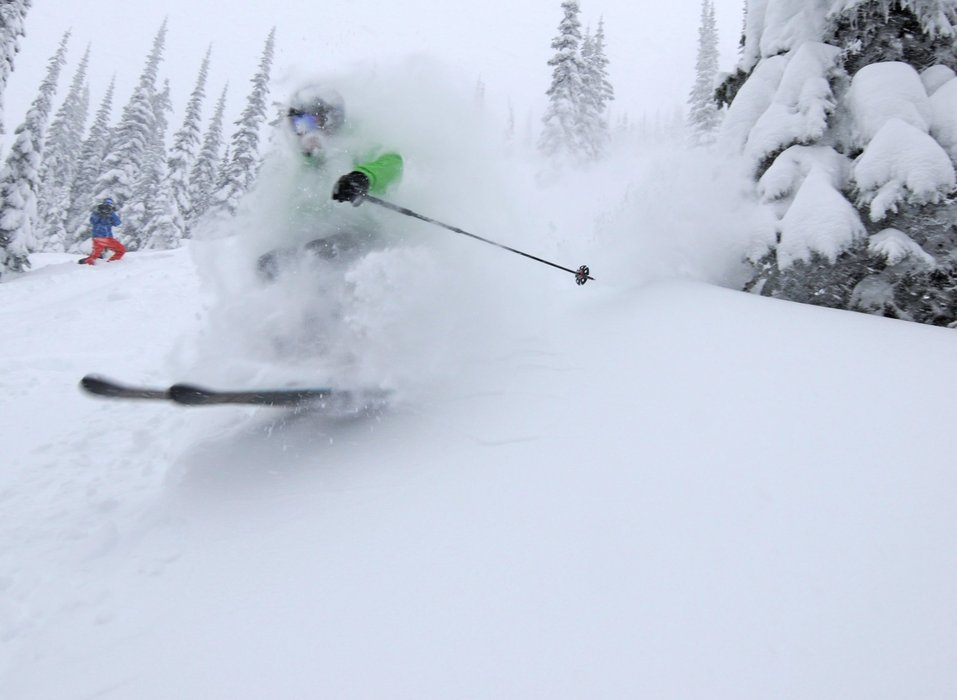 A skier in powder at Schweitzer Mountain. Photo courtesy of Schweitzer Mountain Resort